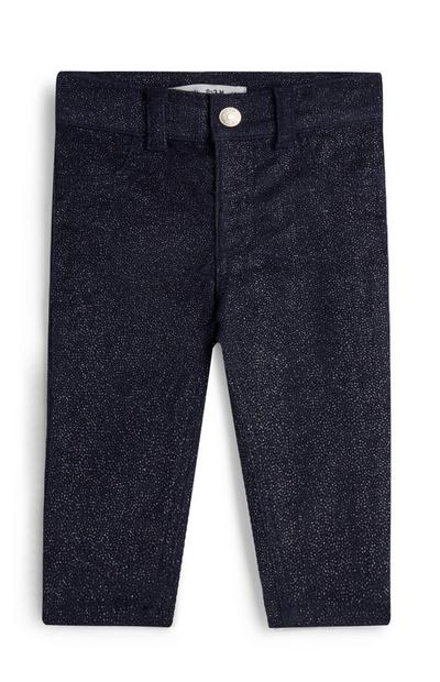 Baby Girl Navy Glitter Trousers