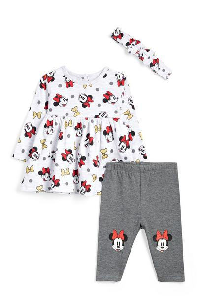 Baby Girl Grey Minnie Mouse 3Pc Outfit with Headband