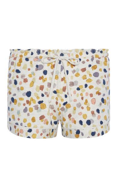 Oatmeal Marl Print Jersey Shorts