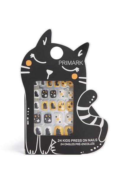 Cat Halloween Press On Nails