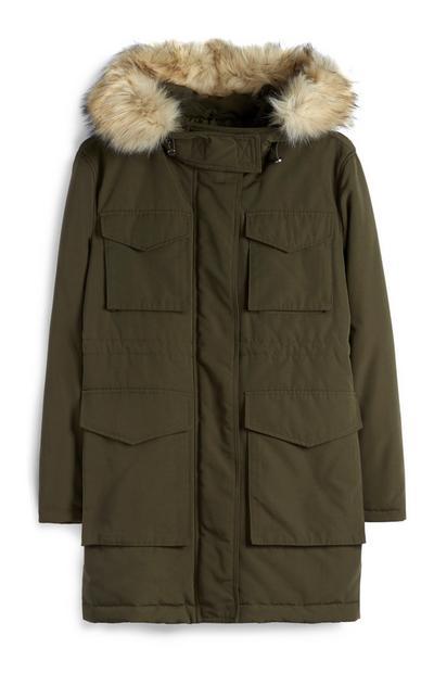 Khaki Utility Parka Jacket