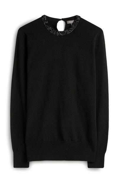 Black Jumper With  Embellished Neck