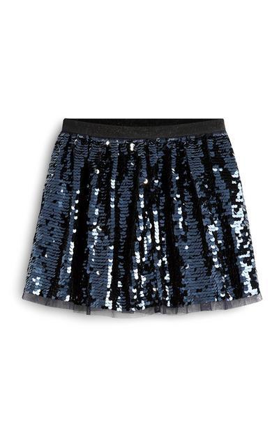 Younger Girl Navy Sequin Skirt