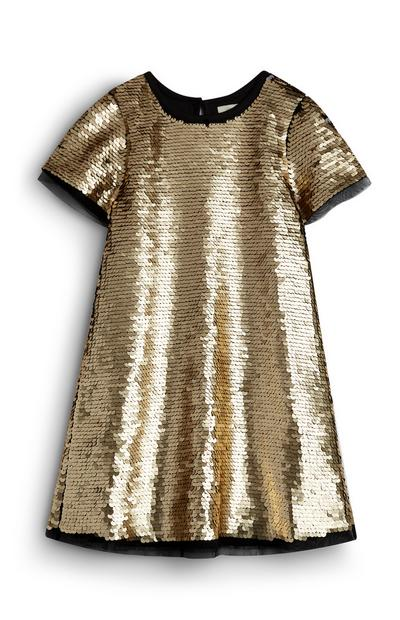 Younger Girl Gold Sequin Dress