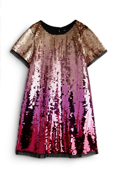 Younger Girl Pink And Gold Ombre Sequin Dress