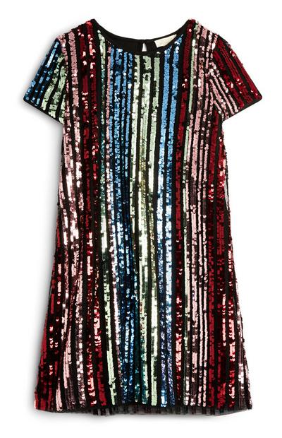 Older Girl Multi-Coloured Stripe Sequin Dress