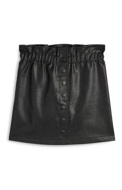 Black PU Paperbag Waist Skirt