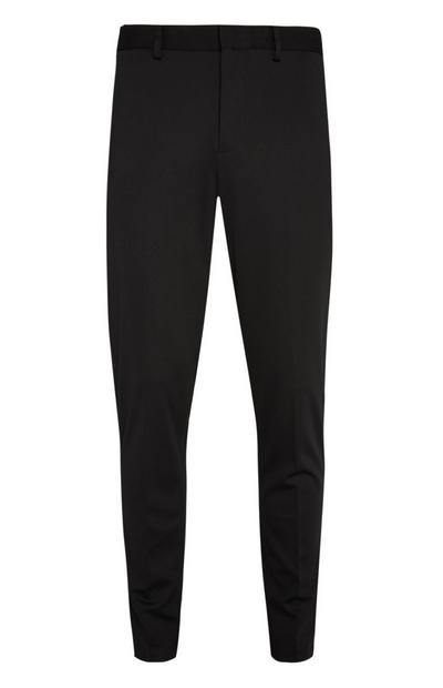 Black Stretch Texture Trousers