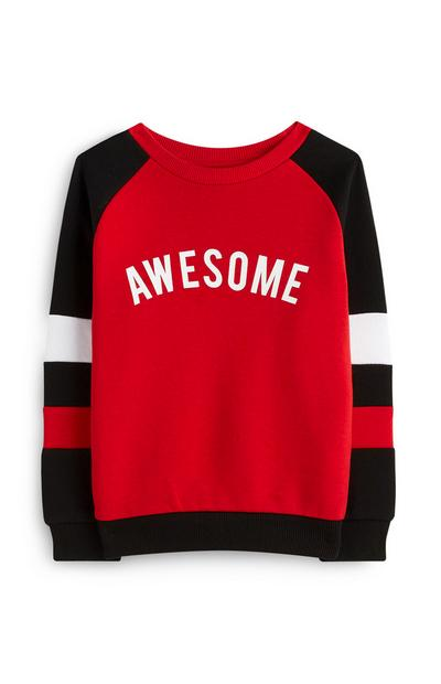 Younger Boy Red Awesome Crew Neck Jumper