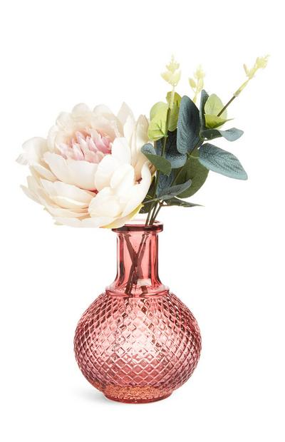 Medium Faux Flower And Foliage In A Pink Vase
