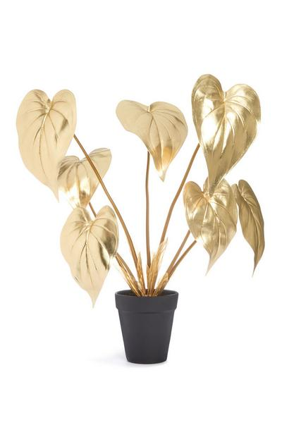 Gold Faux Plant In A Black Pot