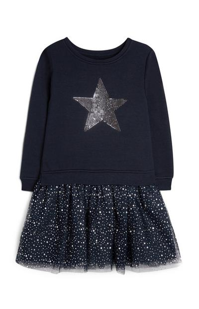 Younger Girl Navy Glitter Jumper Star Dress