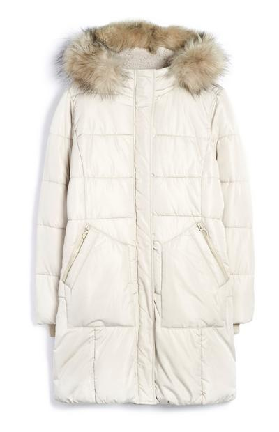 Cream Long Parka Coat With Fur Hood