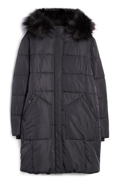Black Long Parka Coat With Fur Hood