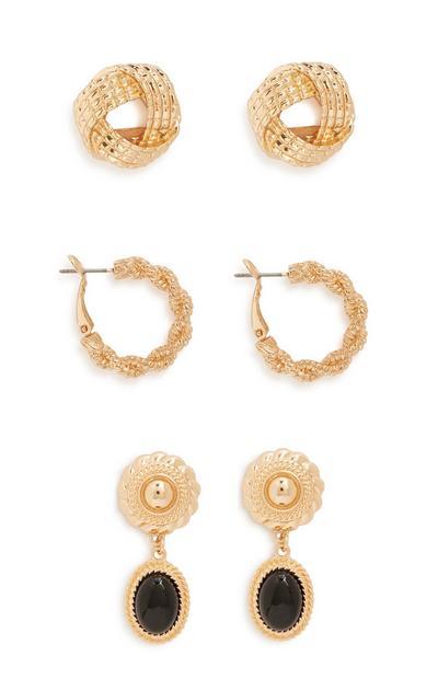 Eighties Style Earrings 3Pk