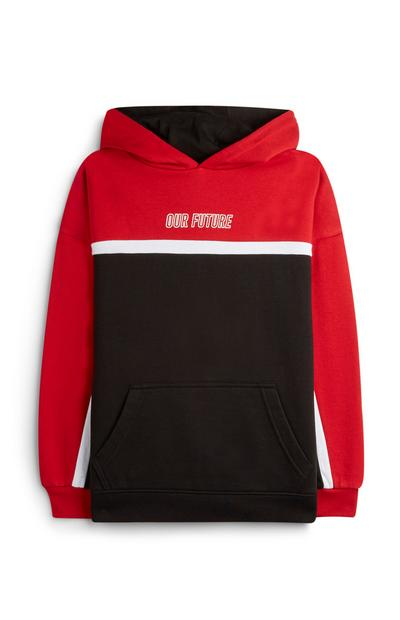 Older Boy Our Future Red Colour Block Hoodie