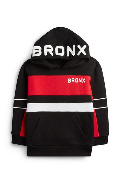 Younger Boy Red And Black Bronx Hoodie