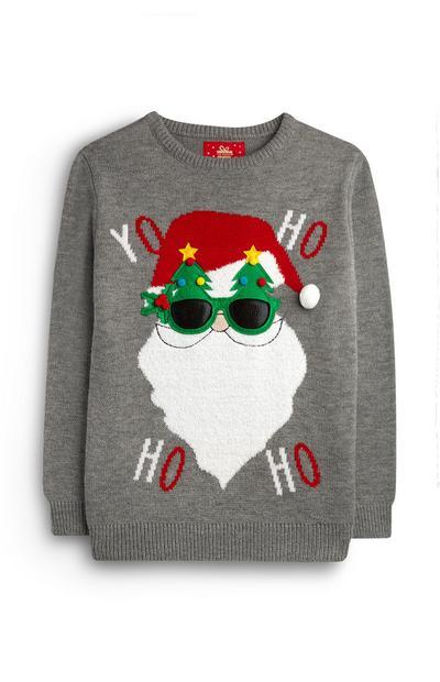 Older Boy Grey Santa Yo Ho Ho Ho Jumper