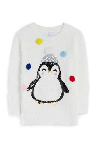 Younger Girl Ivory Penguin Jumper