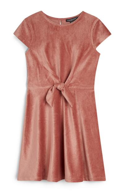 Younger Girl Pink Velvet Dress