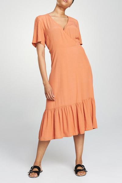Coral Frill Midi Dress