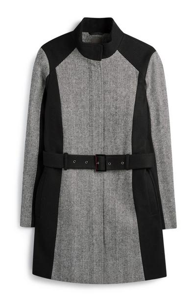 Schwarz-grauer Mantel mit Gürtel