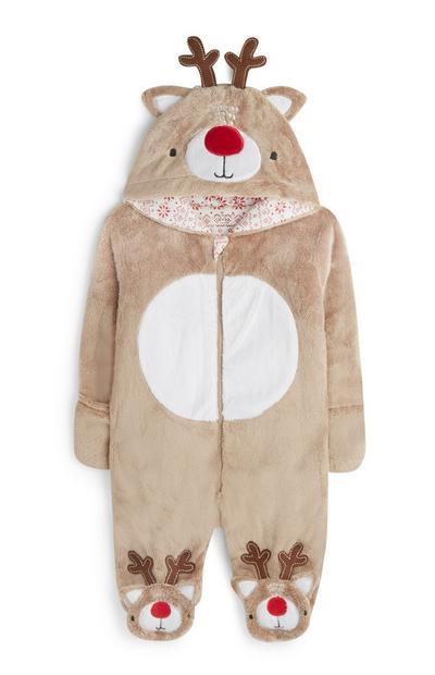 Newborn Brown Reindeer Sleepsuit