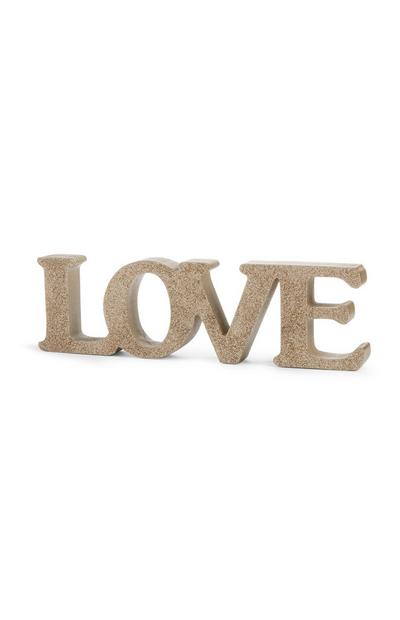 Gold Glitter Love Ornament
