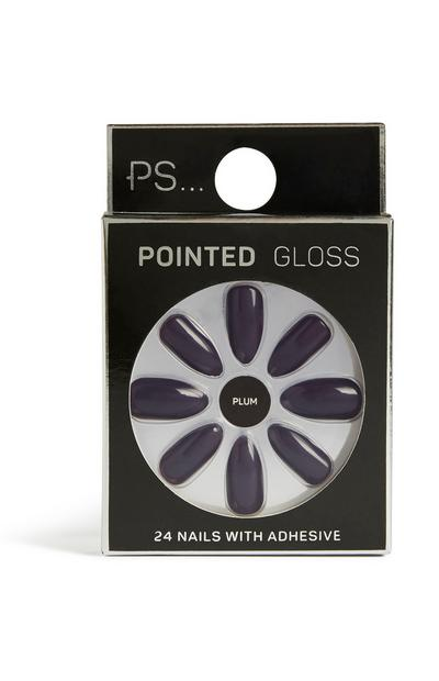Plum Pointed Gloss Nails