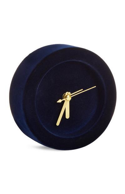 Blue Velvet Mini Alarm Clock
