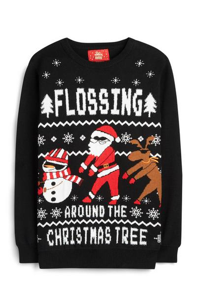 Older Boy Flossing Christmas Jumper