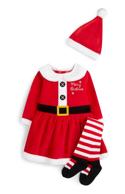 Newborn Girl Red Santa Outfit 3Pc