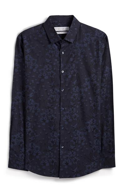 Navy Floral Button Up Shirt