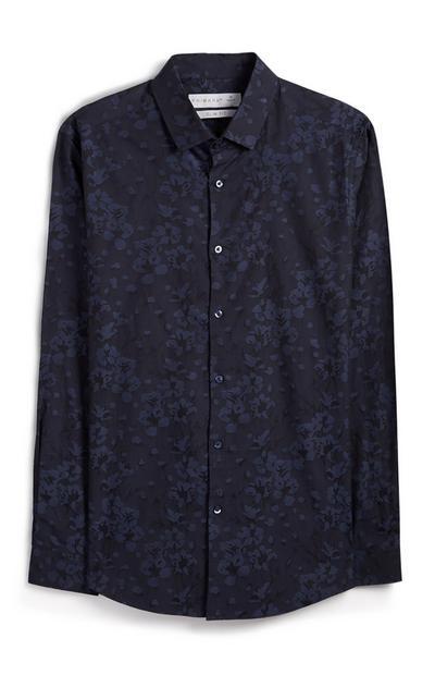 Marineblaues Hemd mit Knopfleiste und Blumenmuster