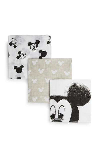 Newborn White Mickey Mouse Muslin Cloths 3Pk