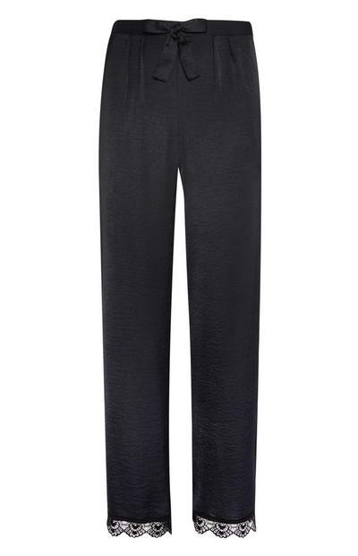 Satin Black Lace Pyjamas