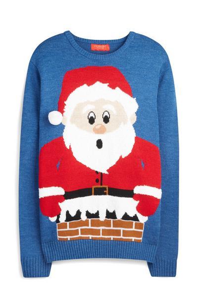 Blue 3D Santa Claus Christmas Jumper