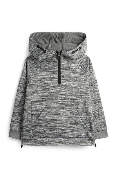 Younger Boy Grey Textured Hoodie