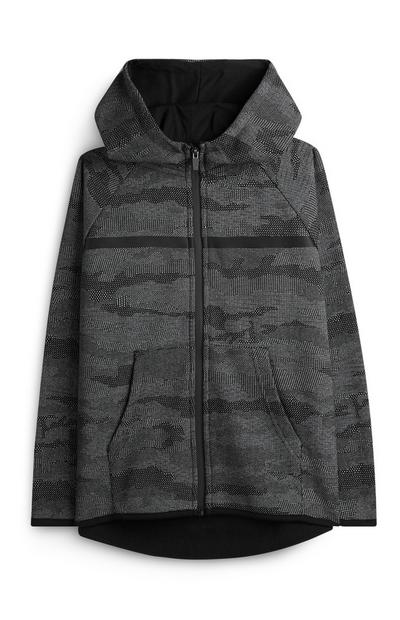 Older Boy Grey Camo Print Zip Up Hoodie
