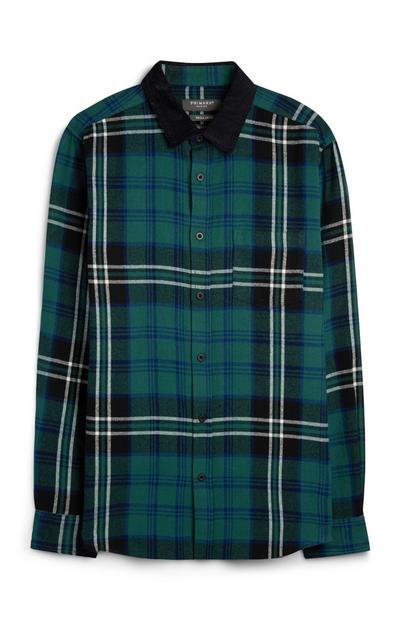 Green Check Shirt With Corduroy Collar