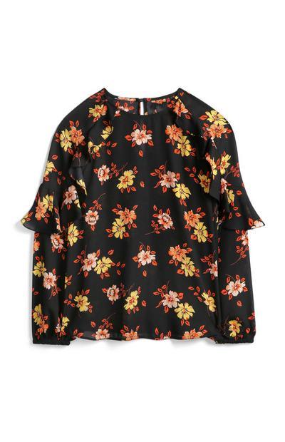 Bluse mit Blumen-Print und Rüschenärmeln