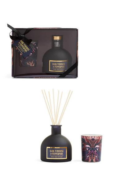 Dark Tuberose And Pepperpods Candles And Diffuser Set