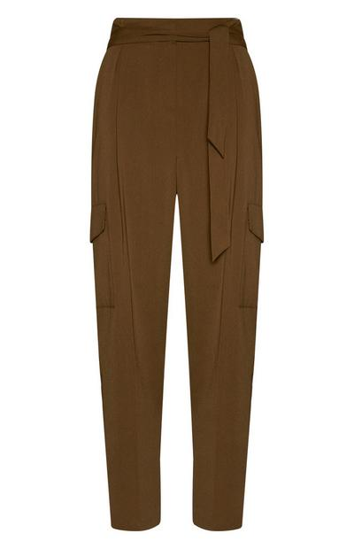 Khaki Wide Leg Cargo Trousers