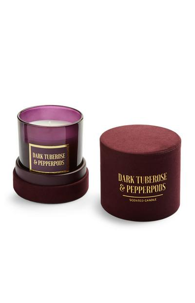 Dark Tuberose And Pepperpods Scented Candle In Round Velvet Box