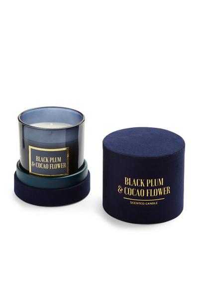 Black Plum And Cocao Flower Scented Candle In Blue Velvet Box