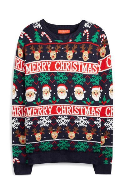 Norweger-Pullover mit Weihnachtsmann- und Renntier-Motiv, marineblau