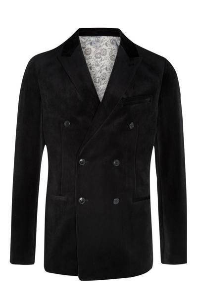 Black Velvet Double Breasted Blazer