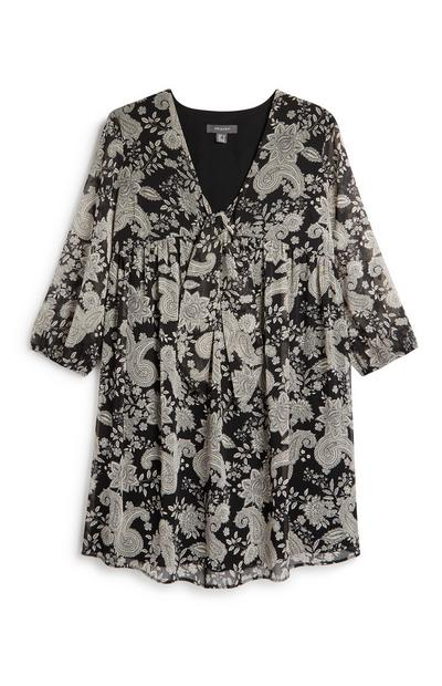 Black Paisley Print Tie Front Dress