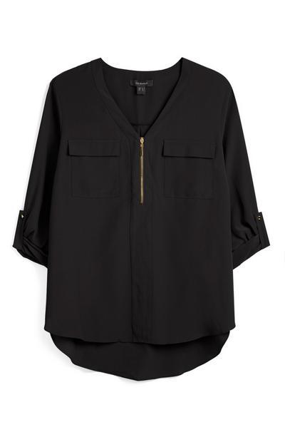 Zip Front Black Blouse