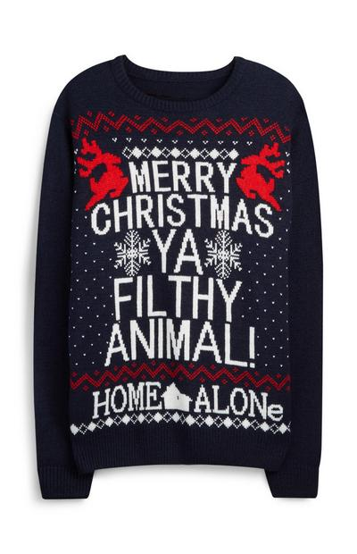 Navy Home Alone Merry Christmas Ya Filthy Animal Jumper
